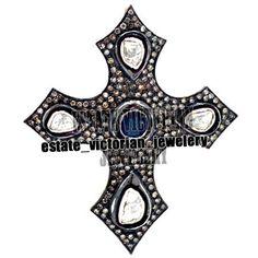 Vintage 3.65cts Rose Antique Cut Diamond Sapphire Silver Cross Pendant Jewelry #estateVictorianJewelery #HandMadeDiamondGemstoneReligionCrossPendant