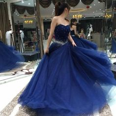 royal blue prom dress, long prom Dress, sweetheart evening dress, A-line prom dress, tulle evening dress, BD350  #weddingdress#fashion#promdress#eveningdress#promgowns#cocktaildress