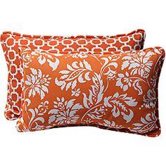 Orange/White Reversible Outdoor Pillows