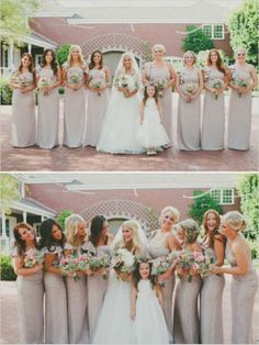 long sparkly gold bridesmaid dresses paired with pink bouquets #goldglitter #bridesmaids #bridalparty http://www.weddingchicks.com/2013/11/05/elegant-pink-and-gold-wedding/