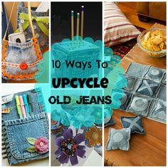 Don't Throw out those old jeans! Here are some creative ideas for upcycling old jeans. (lots of these would make great gifts too)!