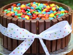 Smarties and kit kat cake