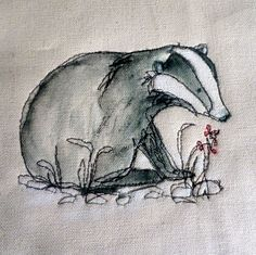 Lynne White - Loopy's badger! #badger #embroidery #illustration