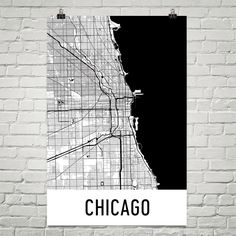 Chicago Map Art Print, Chicago IL Art Poster, Chicago Wall Art, Map of Chicago, Chicago Print, Gift, Birthday, Decor, Modern, Art
