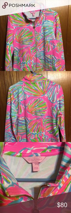 Lilly Pulitzer Reagan Zipper Pink Pout shellabrate Reagan Zipper Pink Pout shellabrate  Size: Large  The top has two front pockets and is the upf 50 fabric. The print is a sold out print, Pink pout Shellabrate.  Pre-owned Lilly Pulitzer Jackets & Coats