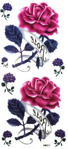 "Tattoo size 7.28""x3.54"" Sexy rose noble charming temporary tattoo. Safe and non-toxic design ideal for body art. Professional grade made to last 3 to 5 days and easily transferred by water. Perfect for vacations, girls night, pool parties, bachelorette parties, or any other event you want to look glamorous."
