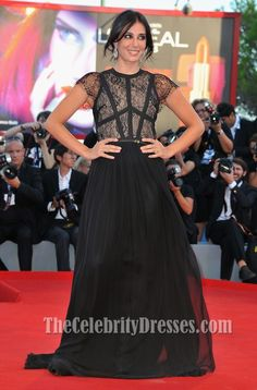 Nadine Labaki Black Evening Prom Dress Venice Film Festival Red Carpet - TheCelebrityDresses