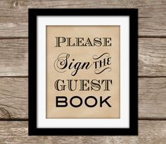 Guest Book Sign Printable - Wedding Sign, Instant Download, Kraft Paper, Candy Buffet, Candy Bar, Reserved Sign, Vintage, Burlap, Rustic