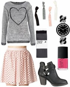 Blush skirt gray graphic sweater ankle booties tights cute outfit for going out