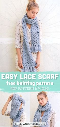Learn how to knit lace with this easy lace scarf pattern and video tutorial! Knit in chunky yarn, it comes together in no time at all!   sheepandstitch.com