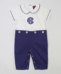 Loving this Lil Signature by Lil Cactus White & Dark Blue Monogram Playsuit - Infant & Toddler on #zulily! #zulilyfinds