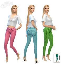Miss Paraply: Technicolor denim tights • Sims 4 Downloads