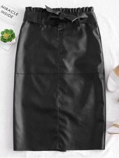 ce6a559c42 Black Fall and Spring and Winter Zipper Solid Pencil Mid-Calf Going Fashion  Midi Faux. ZAFUL