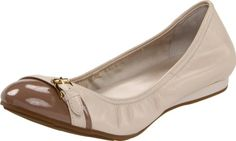 $158.00 Cole Haan Women's 'Air Reesa' Ballet Flat in White Pine or Black (9 (US), White Pine) - Maria Sharapova collection:Buckled-down elegance in a ballet flat with cap toe detail.  Smooth sheep nappa with patent leather upper, cap toe and gold buckle ornament detail.  Concealed NIKE AIR Technology.  Lightweight polyurethane mid-sole and rubber outsole http://www.amazon.com/dp/B005HH2SLU/?tag=icypnt-20