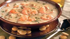 Quick Shrimp Chowder: We've streamlined this favorite creamy shrimp chowder by using canned soup as the base. Easily sub in crawfish or chicken if your family's not big on shrimp.
