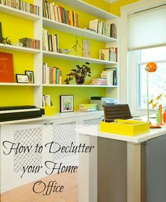 How to Declutter your Home Office. See these design tips to add space, and productive areas with easy organization tips. #organization #decor