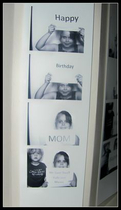 Make a card in a photo booth holding up different signs in each pic