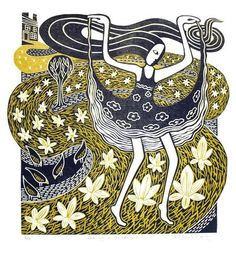 Tiptoe through the Crocuses ~ Linocut by Elizabeth Rashley