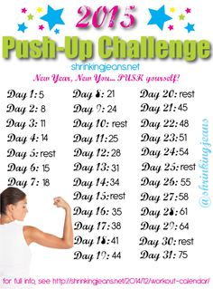 New Year, New You 31-Day Push-Up Challenge, Monthly Workout Calendar by @shrinkingjeans