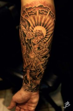 St. Michael the Archangel. This is going to be my first tattoo to start of my right sleeve .