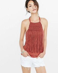 macrame fringe halter cami from EXPRESS Macrame Dress, Macrame Bag, Macrame Necklace, Macrame Knots, Micro Macrame, Macrame Jewelry, Diy Vetement, Macrame Design, Macrame Patterns