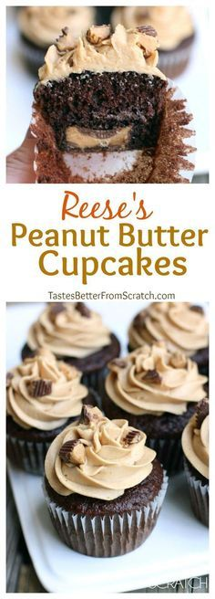 Reese's Peanut Butter Cupcakes- Chocolate cupcakes with peanut butter frosting and a Reese's chocolate baked in the center.