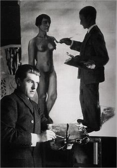 René Magritte posing in front of his work Attempting the Impossible, 1928