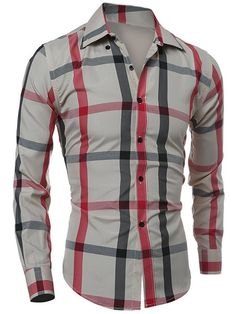 Classic Color Block Plaid Pattern Slimming Turn-down Collar Long Sleeves Shirt For Men
