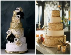 Gold glittery wedding cakes | New Year's Eve wedding inspiration