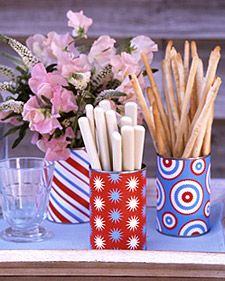 Fourth of July Crafts and Memorial Day Crafts Can-Do Cans Wrap up your holiday entertaining plans with these patriotic containers and fill them with flowers, utensils, breadsticks, and more. Learn How to Make This Craft 4. Juli Party, 4th Of July Party, Fourth Of July, Patriotic Party, Patriotic Crafts, Tin Can Crafts, Diy Crafts, Martha Stewart Manualidades, July Crafts
