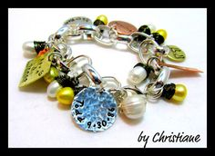 Dancing freshwater Pearls  jewelry hand stamped  by ShinyMetals, $69.00