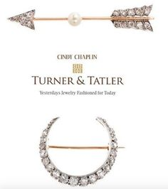 The old #accessory that is back on #trend and #hot this #fall season : the B R O O C H!  From runways, #magazine spreads to street #style, the decorative #pin is everywhere. For some #stunning options, shop Turner & Tatler at www.turnerandtatler.com.  The true #Victorian English #crescent #brooch of the late 1880's + the quintessential #arrow brooch with old #european cut #diamonds and a center set #pearl are both available now!