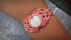 Agate Macrame bracelet\handmade\micromacrame\ by KarMacrame on Etsy