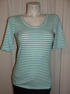BANANA REPUBLIC Top Blue White Scoop Neck Short Sleeve Tee Shirt Womens Size S #BananaRepublic #KnitTop #Casual