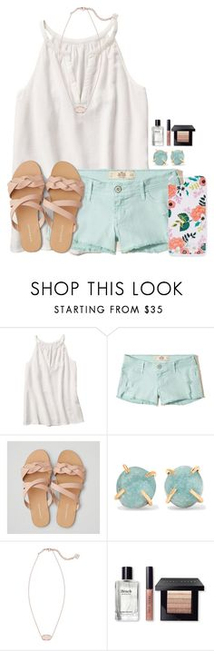 """""""Spring fling"""" by victoriaann34 on Polyvore featuring Hollister Co., American Eagle Outfitters, Melissa Joy Manning, Kendra Scott, Bobbi Brown Cosmetics and Rifle Paper Co"""