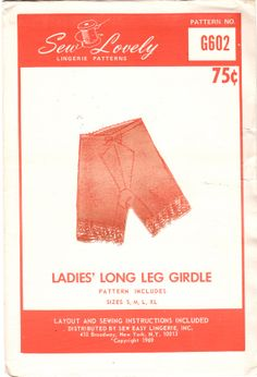 Sew Lovely G602 1960s  Misses Thigh Length GIRDLE  Pattern  womens vintage bodyshaper sewing pattern  by mbchills