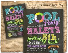 pool party invitation  Girl birthday invitation by 2birdstudios, $20.00