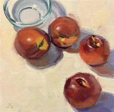 """Daily Paintworks - """"Nectarines and Glass Bowl"""" - Original Fine Art for Sale - © Jamie Stevens"""