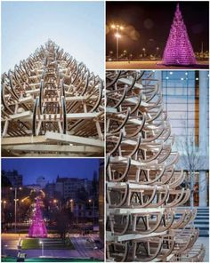 This year the Palace of Arts in Budapest celebrates Christmas with an 11 meters high Christmas tree. Hello Wood, a local architecture and […] After Christmas, Christmas Holidays, Recycled Christmas Decorations, Planter Accessories, Recycled Art, Recycled Pallets, Diy Projects, Recycling Projects, Sustainable Design