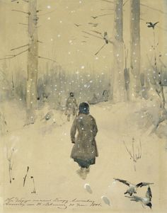 Isaak Levitan (1860 - 1900, was a classical Russian painter) Winter Landscape. Hunters in the snow, 1876