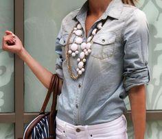 denim shirt, white jeans & statement necklace