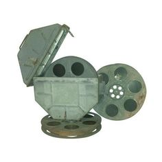 Vintage Movie Reel Canister 35mm with Three Reels ($180) ❤ liked on Polyvore featuring home, home decor, curiosities, vintage home decor, spanish home decor, vintage home accessories, grey home decor and metal home decor