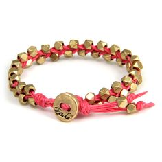 Best Friend Bracelet: Double Gold Faceted Bead Bracelet on Fuchsia Waxed Linen