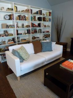 Put some bookcases behind the couch for extra storage