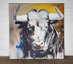 Taurus, Stier gemalt Unikat auf Leinwand 100 x 100 cm von Stefanie Rogge #art #forsale #contemporaryart #kunst #malerei
