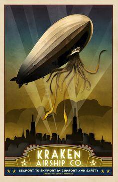Steampunk Airship: Admiral Rosendahl Retro Travel Poster Art Print Art Print by…