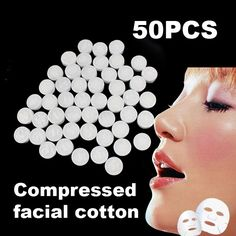 50Pcs Facial Face Cotton Mask Natural Compressed F1 Dried form and convenient to carry