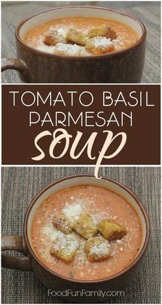 Tomato Basil Parmesan Soup - a simple but delicious vegetarian soup that will warm you from the inside out