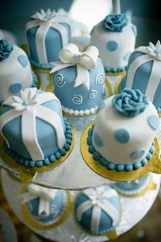 Blue and white polka dot and stripe miniature wedding cakes