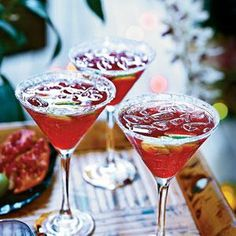 Pomegranate-Key Lime Vodka Cocktails - Key limes are smaller, rounder, and more robustly flavored than the common Persian lime and often have yellow-green skin. Theyre perfect for this drink, but you can substitute 1/4 cup regular lime juice. Prepare the syrup a day ahead, and keep it in the fridge until youre ready to mix the cocktails. For a festive touch, sugar the rims of the glasses..  Print this recipe at AmericanFamily.com.